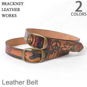 【BRACKNEY LEATHER WORKS/ブラックニー レザー ワークス】 モチーフ デザイン エンボス 型押し 本革 レザーベルト メンズ カ|bobsstore