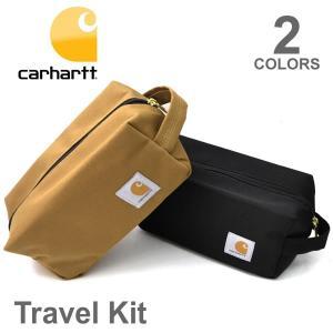カーハート/carhartt 192522 TRAVEL KIT ドップ キット ポーチ 小物入れ バッグ ロゴ 旅行 メンズ レディース ブラック|bobsstore