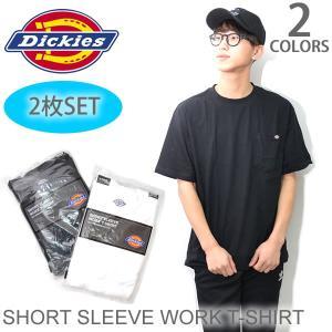 ディッキーズ【Dickies】SHORT SLEEVE WORK T-SHIRT 1144624 Tシャツ 半袖 2枚組 2セット メンズ WHITE BLACK|bobsstore