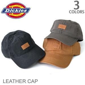 ディッキーズ【Dickies】レザー ポイント キャップ アジャスタブル メンズ CAP 帽子 マジックテープ ロゴ シンプル ブラック キャメル チ|bobsstore