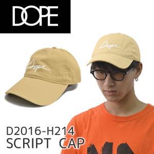 ドープ【DOPE】SCRIPT CAP D2016-H214 キャップ 帽子 メンズ レディース カーキ コットン ストラップバック サイズ調整可能  【メール便発送のみ送料無料】|bobsstore