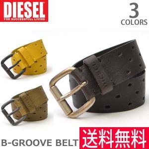 DIESEL/ディーゼル  X03817 PR317 B-GROOVE BELT BLACK MEDIUM/BROWN LEMON/YELLOW ベル|bobsstore