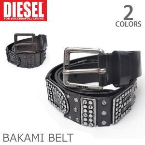 ディーゼル/DIESEL  BAKAMI BELT ベルト ロゴ スタッズ ベルト/00SJVX0DAIV/ メンズ レディース BLACK/D.BR|bobsstore