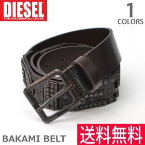 DIESEL/ディーゼル  X03726 P0754 BAKAMI BELT COFFEE ベルト ロゴ スタッズ メンズ レディース ヴィンテージ感|bobsstore