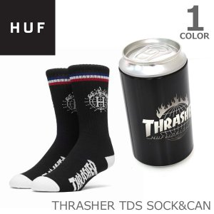 ハフ/HUF SK65M01 THRASHER TDS SOCK&CAN 靴下 缶 ハフ×スラッシャー HUF×THRASHER ソックス ロゴ ストリート  スケーター プレゼント|bobsstore