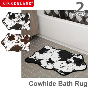キッカーランド【KIKKERLAND】Cowhide Bath Rug カウハイドバスラグ バスマット ラグ HW36 ブラック ブラウン カウハイド|bobsstore