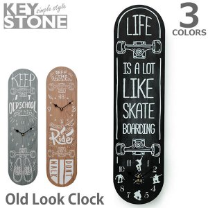 キーストーン【KEY STONE】オールドルッククロック スケートボード OLLCSK 時計 掛け時計 置き時計 ヴィンテージ レトロ サーフィン ボード|bobsstore