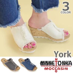 【MINNETONKA/ミネトンカ】 YORK/ヨーク デニム ウェッジソール サンダル 厚底 ビーチサンダル レディース 靴 73301|bobsstore