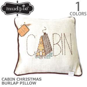 マッドパイ【Mud pie】CABIN CHRISTMAS BURLAP PILLOW 44264050 クッション ピロー 枕|bobsstore