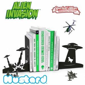マスタード【Mustard】ALIEN INVASION BOOKENDS UFO エイリアン ブックエンド M16036 本立て おもしろ雑貨 おし|bobsstore