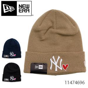 ニューエラ/NEW ERA  11474696/11474697 ベーシック カフニット ニューヨーク・ヤンキース ウィズ ハート  ニット帽 ビーニー ニット 帽子 NAVY/BLACK|bobsstore