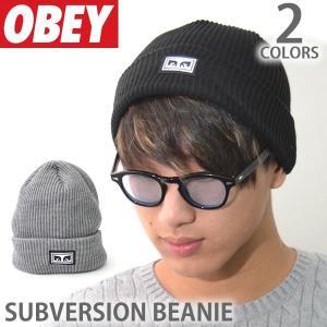 オベイ【OBEY】ビーニー 100030118 SUBVERSION BEANIE  ロゴ 帽子 メンズ ニットキャップ 【メール便可】|bobsstore