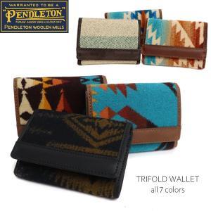 ペンドルトン【PENDLETON】GE233 TRIFOLD WALLET ネイティブ柄 3つ折り 財布 トライフォールド ウォレット サイフ カード ウール レザー ペンデルトン bobsstore