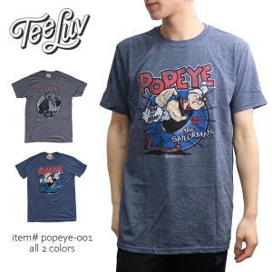 Tee Luv POPEYE ポパイ トップス 半袖 メンズ レディース GREY/Wimpy  BLUE/popeye Tシャツ  ロゴT ヴィンテージ風 本物 ネコポス発送|bobsstore