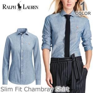 ポロ ラルフローレン /POLO RALPH LAUREN Slim Fit Chambray Shirt シャンブレー コットン シャツ レディース ポニー ロゴ 長袖 CHANBRAY|bobsstore