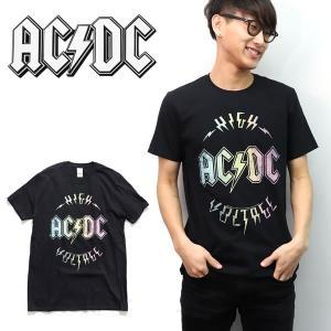 エーシーディーシー【AC/DC】 HIGH VOLTAGE BLACK ブラック  Tシャツ ロックT バンドT ヒップホップ ロゴT 正規品 本物【ネコポスのみ送料無料】|bobsstore