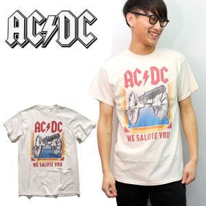 エーシーディーシー【AC/DC】 WE SALUTE YOU NATURAL ナチュラル Tシャツ ロックT バンドT ヒップホップ ロゴT 正規品 本物【ネコポスのみ送料無料】|bobsstore