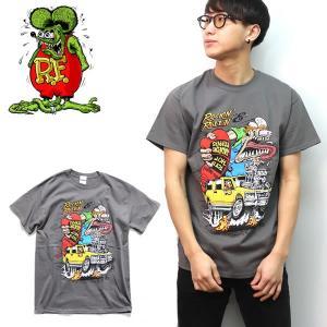ラット フィンク【Rat Fink】Rockin Rollin GRAY グレー エド・ロス モンスター Tシャツ ロックT バンドT ヒップホップ ロゴT 正規品 本物|bobsstore