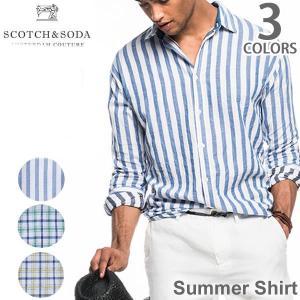 スコッチ アンド ソーダ【SCOTCH &SODA】130681 16-SSMM-D20 Summer Shirt メンズ チェックシャツ サマーシャツ 長袖|bobsstore