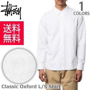 ステューシー/STUSSY  メンズ 長袖シャツ CLASSIC OXFORD L/SL SHIRT オックスフォード 111907 ロゴ ストリート スケーター WHITE|bobsstore