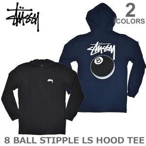 ステューシー/STUSSY 1984093 8 BALL STIPPLE LS HOOD TEE パーカー フード付きロンT メンズ スチューシー 長袖Tシャツ stussy|bobsstore
