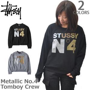 ステューシー/STUSSY レディース スウェット METALLIC No.4 TOMBOY CREW 2911035  起毛 トレーナー ラメ メタリック|bobsstore