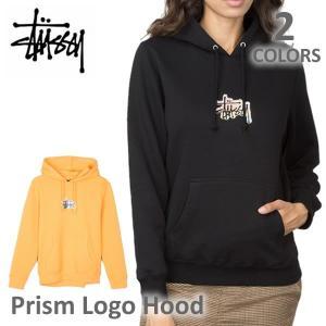 ステューシー/STUSSY 2921664 レディース スチューシー フードパーカー プルオーバー Prism Logo Hood 裏起毛 長袖 stussy BLACK/APRICOT トップス 人気 bobsstore
