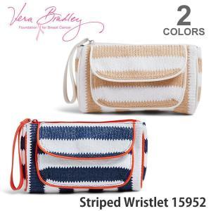 ヴェラブラッドリー【vera bradley】【メール便発送】Striped Wristlet アクセサリー ポーチ ハンドバッグ 小物入れ パスケース ストライプ 15952|bobsstore