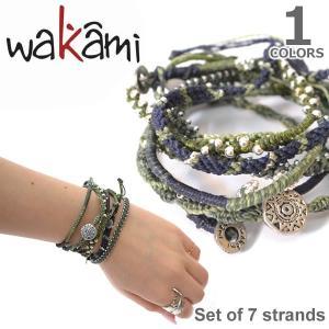 wakami/ワカミ WA0389-100 Set of 7 strands Olive/Navy アースブレスレット ストランド ユニセックス 小物 ユニセックス アクセサリー|bobsstore