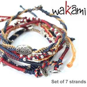 wakami/ワカミ WA0389-101 Set of 7 strands Navy/Rusty Beigeアースブレスレット ストランド ユニセックス 小物 ユニセックス アクセサリー|bobsstore
