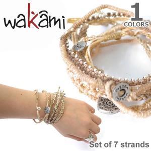 wakami/ワカミ WA0389-102 Set of 7 strands Beige/RustyBeige アースブレスレット ストランド ユニセックス 小物 ユニセックス アクセサリー|bobsstore