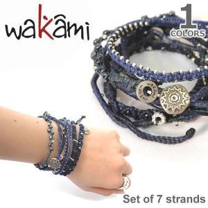wakami/ワカミ WA0389-103 Set of 7strands Indigo/Navyアースブレスレット ストランド ユニセックス 小物 ユニセックス アクセサリー|bobsstore