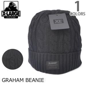 エクストララージ【X-LARGE】GRAHAM BEANIE ストリート ニットキャップ ニット帽 MC159204 メンズ ロゴ ゴリラ ラージ KNIT CAP BLACK【メール便可】|bobsstore
