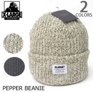 エクストララージ【X-LARGE】PEPPER BEANIE ストリート ニットキャップ ニット帽 MC159206 メンズ ロゴ ゴリラ ラージ KNIT CAP BLACK【メール便可】|bobsstore