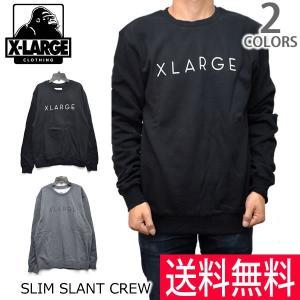 エクストララージ【X-LARGE】SLIM SLANT CREW スウェット トレーナー ロゴ ゴリラ ラージ BLACK HEATHER GREY アメリカ 人気|bobsstore