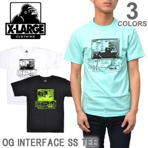 エクストララージ/X-LARGE ストリート ロゴ Tシャツ OG INTERFACE SS TEE  M17A1132 WHITE/BLACK/CELADON メンズ  ゴリラ ラージ   メール便のみ送料無料|bobsstore