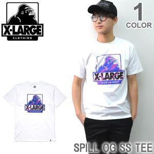 エクストララージ/X-LARGE SPILL OG SS TEE M17D1104 ストリート ロゴ Tシャツ メンズ ニューヨーク ロゴ ゴリラ ラージ アメリカ|bobsstore