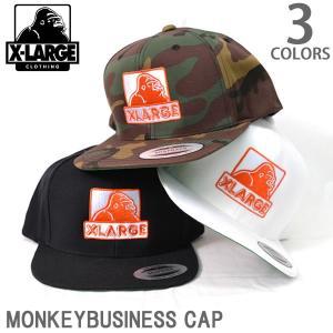 エクストララージ/X-LARGE MONKEY BUSINESS CAP ロゴ ワッペン 刺繍 CAP ストリート キャップ BLACK WHITE CAMO メンズ|bobsstore