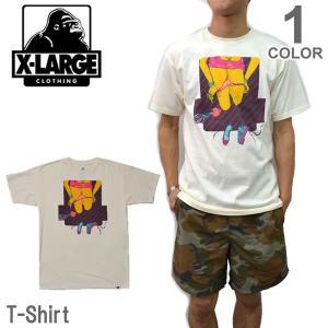 エクストララージ/X-LARGE ストリート ロゴ Tシャツ 半袖 シンプル スケーター ヒップホップ CREAM メンズ ニューヨーク ロゴ|bobsstore