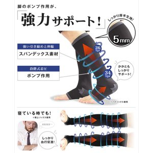 着圧ソックス メンズ 締-TAI-(タイ) 膝上 ニーハイ つま先/オープントゥ 白/黒 強圧 弾性ソックス 弾性ストッキング 加圧 着圧 ソックス 靴下|bodycreate|05