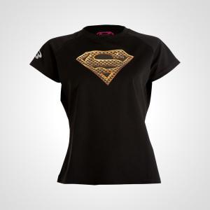 吸汗・速乾に優れた素材のWOMENのスポーツTシャツ。胸にSUPERMANを転写プリントで入れていま...