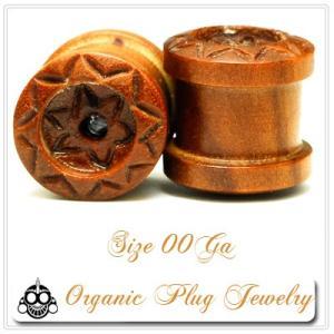 00G  ウッド Borneo Flower デザイン プラグピアス 天然素材 ボディピアス  早い者勝ち|bodywell
