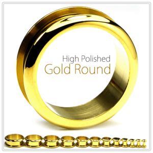 早い者勝ち  22mm  ラウンド トンネル ゴールド ハイポリッシュ フレッシュトンネル ホール ボディピアス BodyWell|bodywell