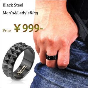 ブラックステンレス 指輪 クラシック ブラック スタッズ|bodywell