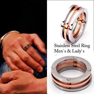 ステンレスアクセサリー ピンクゴールド ライン 指輪|bodywell