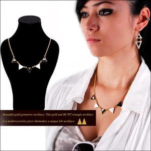 トライアングル ネックレス ホワイト&ブラック ファイブ ゴールドネックレス |bodywell