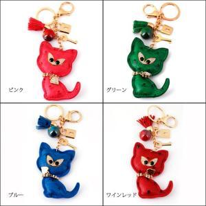 キラキラストーン 猫 キーリング バッグチャーム オーストリッチ風 レザー クリスマス プレゼント|bodywell