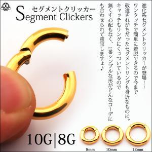 10G  8G コレなら簡単カチッと装着 ゴールド セグメントリングピアス クリッカー リングピアス ボディピアス|bodywell