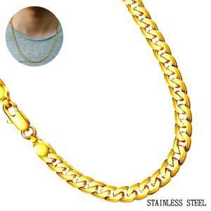 60cm 光沢ゴージャス ゴールド チェーンネックレス ステンレス メンズアクセ ペンダントネックレス|bodywell