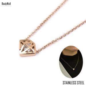 ピンクゴールド ダイヤモンドデザイン ステンレス ネックレス 金属アレルギー アレルギーフリー レディースアクセ プレゼント|bodywell